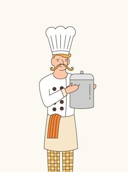 Sous 요리사 평면 벡터 일러스트 레이 션. 흰색 제복을 입은 전문 남성 요리사와 냄비 만화 캐릭터를 들고 모자. 엘리트 레스토랑 주방 직원. 미식가 전문.