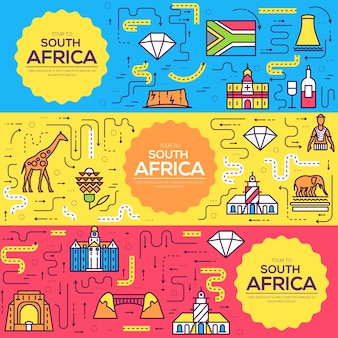 South africa  brochure cards thin line set. country template of flyear, book cover, banners.