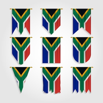 South africa flag in different shapes, flag of south africa in various shapes