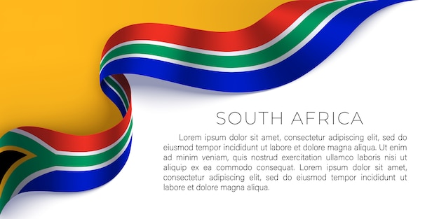 South africa horizontal poster with photorealistic ribbon in the colors of the national flag of rsa