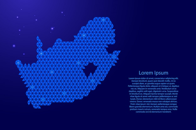 South africa map abstract schematic with blue triangles template
