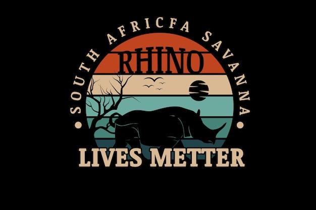 남아프리카 사바나 코뿔소 생활 문제 색상 오렌지 크림과 녹색
