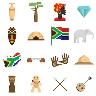South africa travel icons set