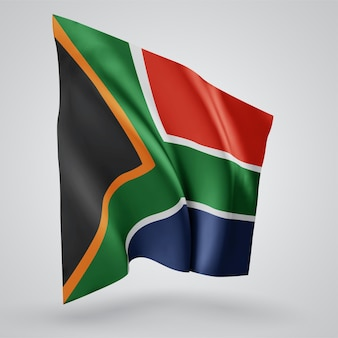 South africa, vector flag with waves and bends waving in the wind on a white background.
