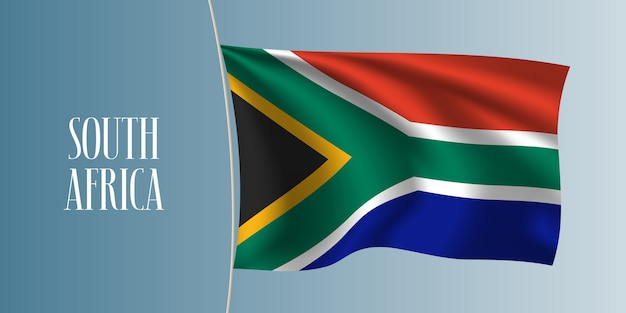 South africa waving flag. iconic design element as a national south african flag