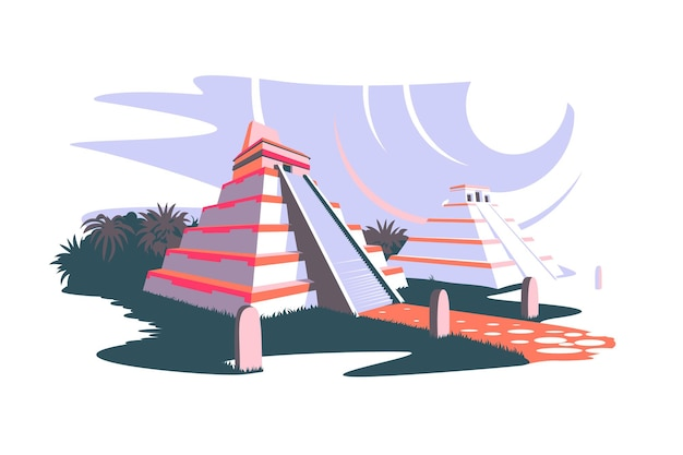 South america and ancient mayan pyramids vector illustration landscape with south american landmarks and statues on easter island flat style archeology concept isolated