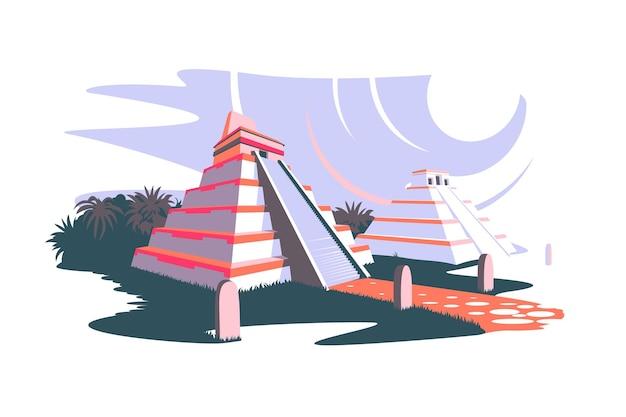 Южная америка и древние пирамиды майя векторная иллюстрация пейзаж с южноамериканскими достопримечательностями и статуями на изолированной концепции археологии в плоском стиле острова пасхи
