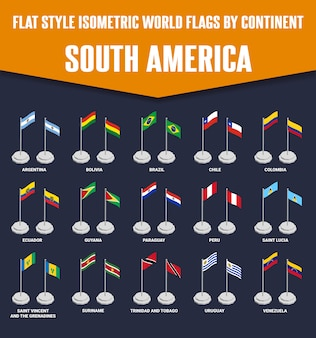 South america country flat style isometric flags