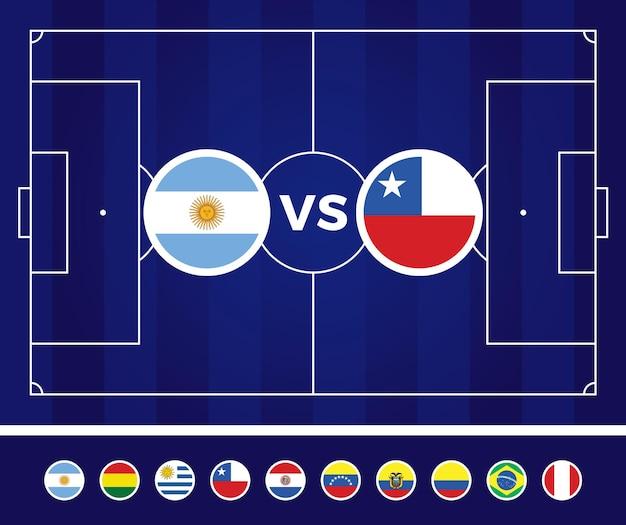 南アメリカサッカー2021年アルゼンチンコロンビアのイラスト。代表チーム対サッカー場