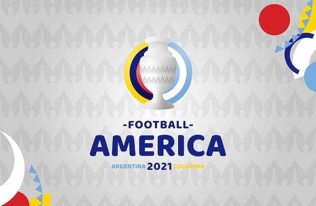 南アメリカサッカー2021年アルゼンチンコロンビアのイラスト。パターンの背景に公式トーナメントのロゴはありません