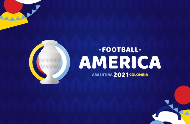 South america football 2021 argentina colombia illustration. no oficial tournament logo on pattern background