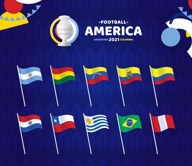 南アメリカサッカー2021年アルゼンチンコロンビアのイラスト。チャンピオンシップのロゴが付いたポールにogウェーブフラグを設定します