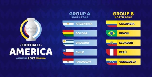 Южная америка футбол 2021 аргентина колумбия иллюстрация. финальный этап футбольных турниров двух групп а и б
