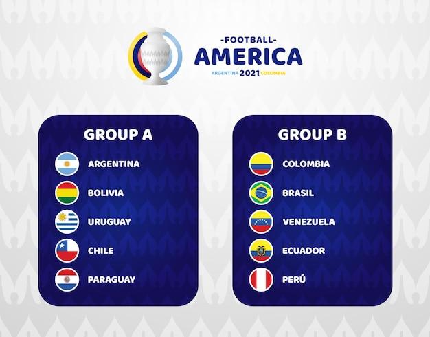 南アメリカサッカー2021年アルゼンチンコロンビアのイラスト。グループaとグループbの2つの最終ステージサッカートーナメント