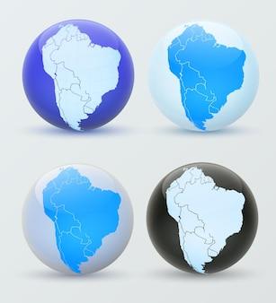 South america on a globe