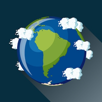 South america map on planet earth