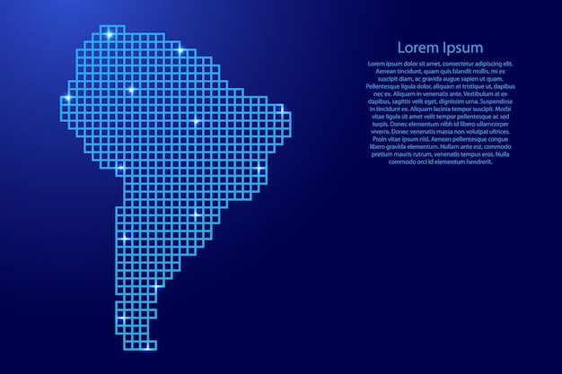 South america map silhouette from blue mosaic structure squares and glowing stars. vector illustration.