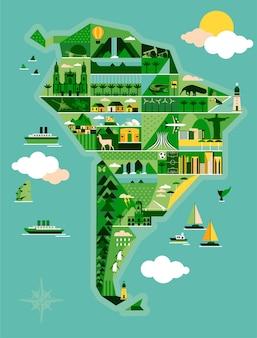 風景と動物の南アメリカの地図。
