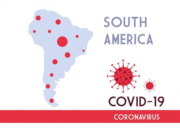 Covid 19の普及を伴う南アメリカの地図