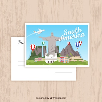 South america postcard template with flat design
