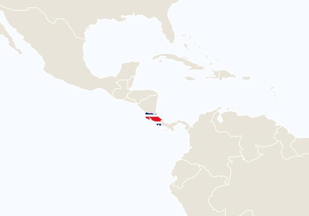 Южная америка с выделенной картой коста-рики. векторные иллюстрации.