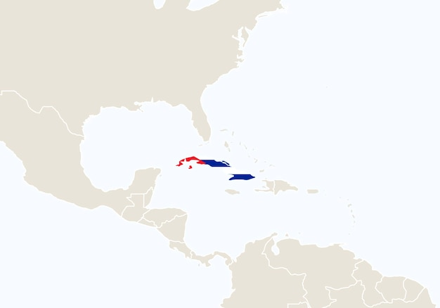 Южная америка с выделенной картой кубы. векторные иллюстрации.