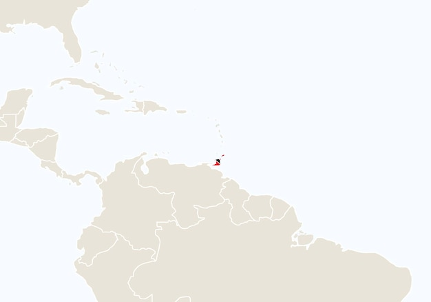 강조 표시된 트리니다드 토바고 지도가 있는 남아메리카. 벡터 일러스트 레이 션.