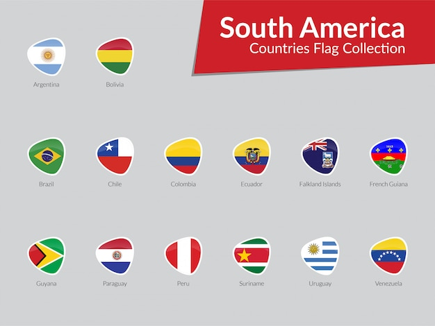 South american flags icon collection