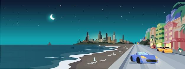 夜の南のビーチフラットカラーイラスト。フロリダの夏休み