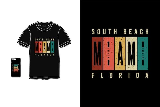 サウスビーチマイアミフロリダレタリングシャツ