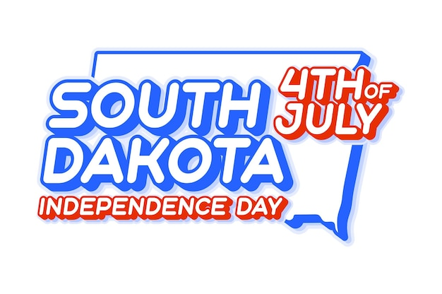 South dakota state 4th of july independence day with map and usa national color 3d shape of us