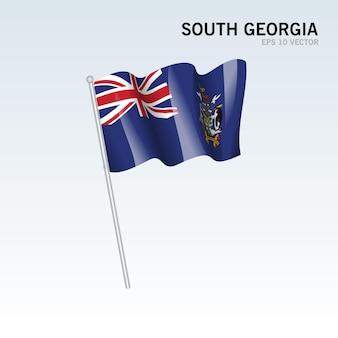 사우스 조지아 회색에 고립 된 깃발을 흔들며