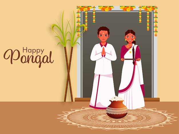 South indian couple standing together with sugarcane, pongali rice mud pot on rangoli for happy pongal celebration.