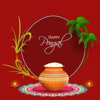 South indian festival happy pongal concept with traditional pot filled with cooked rice