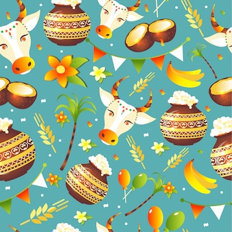 South indian festival pongal background template design seamless pattern.