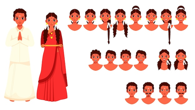 남쪽 인도 남자와 다른 얼굴 표정을 가진 여자