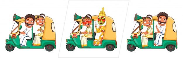 発表のためにオートタクシーに乗っている女性とカタカリダンサーと南インドの男性。