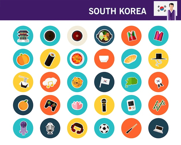 South korea concept flat icons