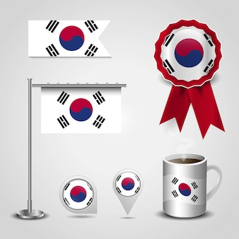 South korea country flag place on map pin, steel pole and ribbon badge banner