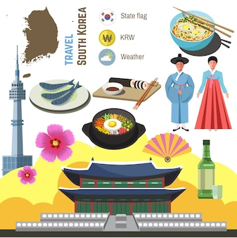 South korea culture symbol set.  travel seoul direction concept.