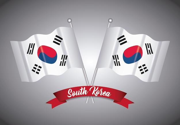 South korea design with decorative ribbon and flags