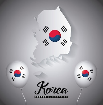 South korea design with map and decorative balloons