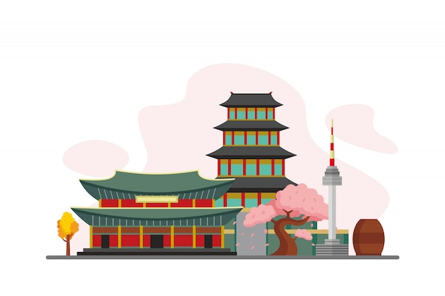 South korea famous landmarks background