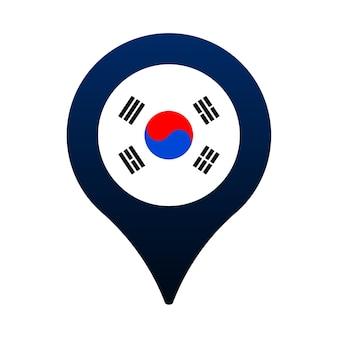 한국 국기와 지도 포인터 아이콘입니다. 국기 위치 아이콘 벡터 디자인, gps 로케이터 핀. 벡터 일러스트 레이 션
