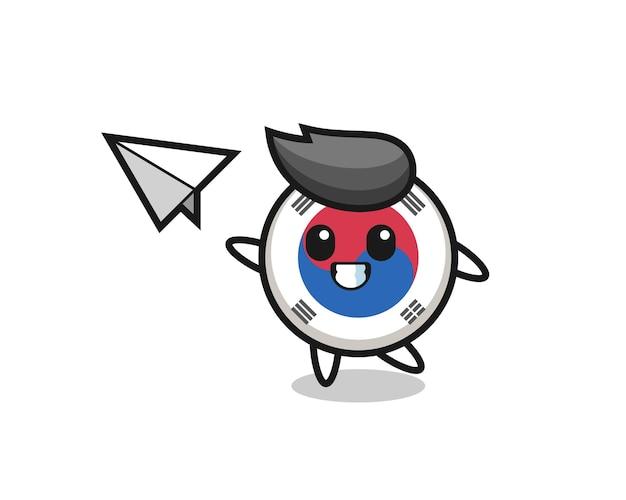 종이 비행기를 던지는 한국 국기 만화 캐릭터, 귀여운 디자인