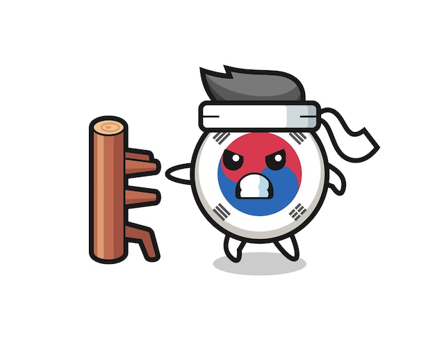 South korea flag cartoon illustration as a karate fighter , cute design