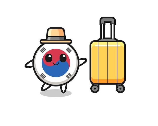 South korea flag cartoon illustration with luggage on vacation , cute design