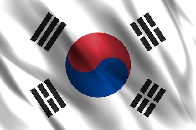 한국 국기 떠 다니는 실크 배경