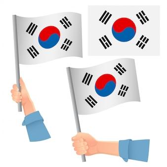 손에 한국 국기 세트