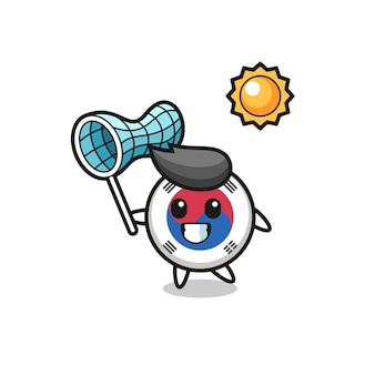South korea flag mascot illustration is catching butterfly , cute design